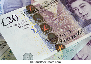 Business new GBP 20 note with security strip