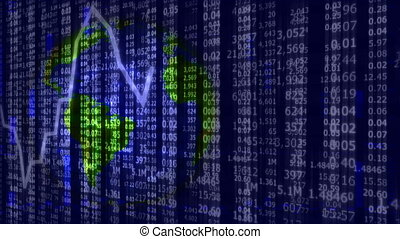 Business news background with stock market tickers, graph...