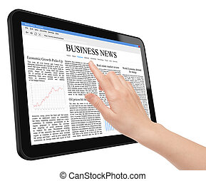 Business News Concept on Tablet PC - Hand touch screen on...