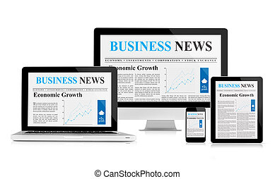 Business news feed on mobile devices - Laptop, desktop pc, ...