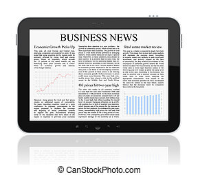 Business news on Tablet PC. Isolated on white.
