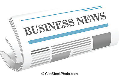 Dimensional illustration of a folded newspaper or journal, the Business News, lying at an oblique angle on a white background