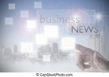 Business news touch screen