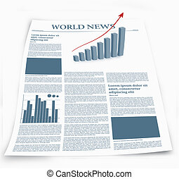 Business newspaper named world news with graphics effects