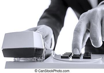 business, nombre, téléphone, devant, homme, composer, vue