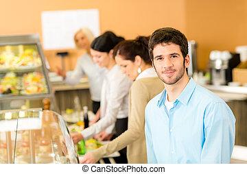 business, nourriture, déjeuner, prendre, cafétéria, homme
