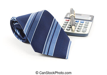 Business Object - Blue Necktie ,Pen, calculator, Business ...