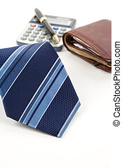 Business Object - Blue Necktie ,Pen, calculator, wallet, ...