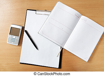Business objects - Image of workplace with paper, notepad,...
