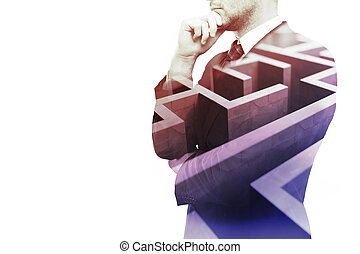 Business obstacle - Young businessman thinking about ways to...