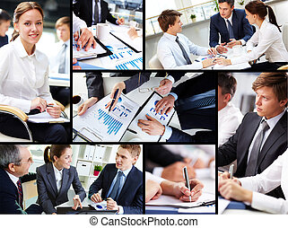 Business occupation - Business people discussing results of...