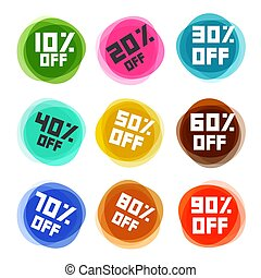 Business Off Labels Set. Vector Discount Icons.
