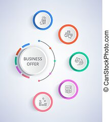 Business Offer Set of Icons Growing Income, Credit -...