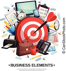 Business Office Accessories Composition Poster