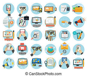 Business, office and marketing items icons. - Web design...
