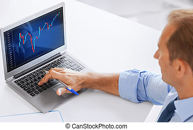 business, office and money concept - smiling businessman working with forex chart in office