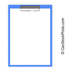 Business office concept: clipboard with blank sheets of paper isolated on white background