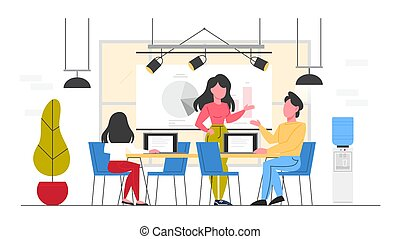 Business office conept, business department. People make business analytics and data analysis. Optimization and progress. People working with graph and diagram. Flat vector illustration