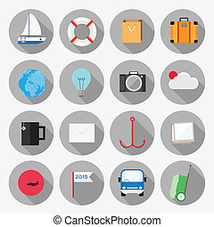 Business office elements icons vect