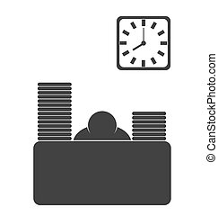 Business office fizzle out worker flat icon isolated on white