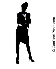 Business Office Illustration Silhouette - Female business...