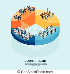 Business Office Interior Businesspeople Group On Pie Diagram...