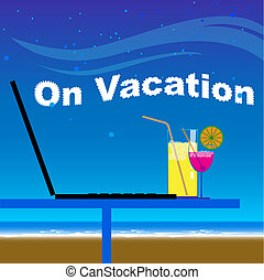 Business office on vacation at the beach in night