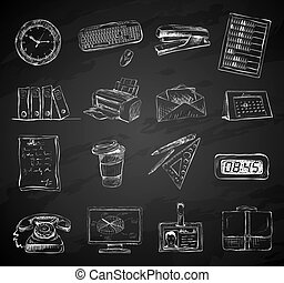 Business office stationery supplies icons set of folders files documents and briefcase isolated chalkboard vector illustration