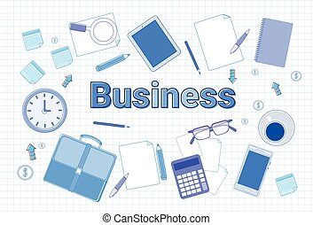 Business Office Stuff Set On Squared Notebook Paper Background Businessperson Workplace Concept