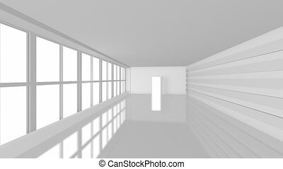 Big white business room with large windows. Full HD at 60 fps with Alpha Matte. - 1 Alpha Matte for windows and door - 1 Alpha Matte for reflection from floor This animation can use for business template in After Effects.
