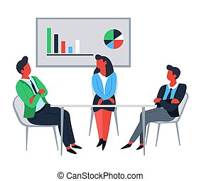Business office workers at table and financial graphic and chart