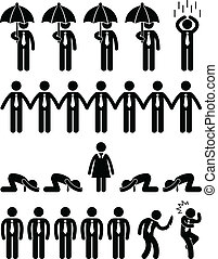 Business Office Workplace Scenario - A set of pictogram ...