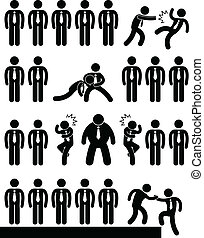 A set of pictogram representing situation in workplace or office.