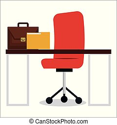business office workplace with portfolio