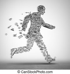Business on the move concept as a group of corporate icons shaped as a businessman runner as a metaphor for forward career ambition or employee direction in a 3D illustration style.
