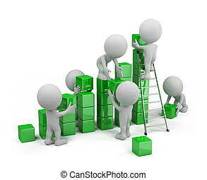 Business on the move - Employees build profit chart. 3d...