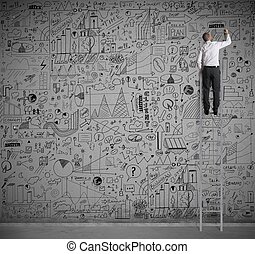 Business on wall - Businessman on a scale drawing on wall