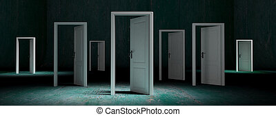 White doors opened on green weathered background, banner. 3d illustration