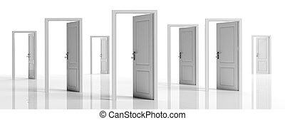 White doors opened on white background, banner. 3d illustration