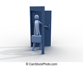 Business opening - 3d person entering from nowhere to ...