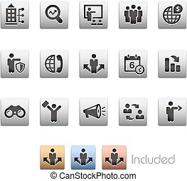 Business Opportunities and Strategies Icon set - Metalbox Series