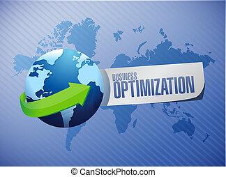 business optimization globe sign concept illustration design...