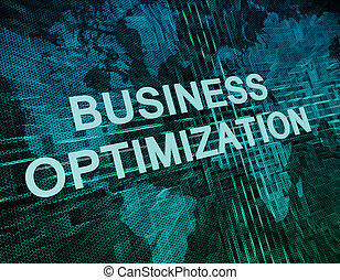 Business Optimization text concept on green digital world...