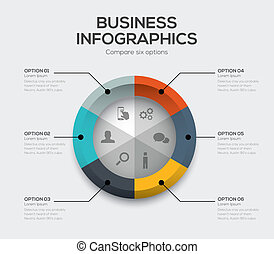 Business options vector. Modern ui infographics with six ...
