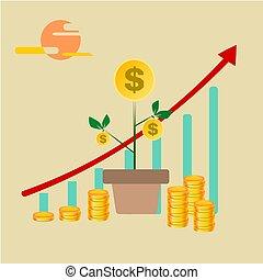 business, or, arbre, haut, chart., monnaie, grandir