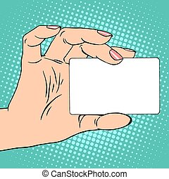 Business or credit card in female hand