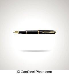 business, or, réaliste, isolé, plaqué, élégant, stylo, vecteur, noir, arrière-plan., fontaine, blanc, illustration.