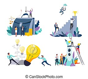Business or startup concept isolated icons, idea and money