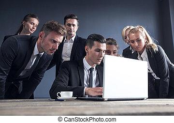 business, ordinateur portable, équipe