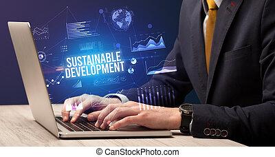 business, ordinateur portable, fonctionnement, concept, homme affaires